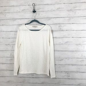 Ann Taylor LOFT Cream Long Sleeve Tee - Size Large